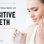 Woman holding the side of her mouth in pain. Text that says causes and treatment of sensitive teeth.