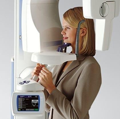 photo of patient at panoramic xray machine
