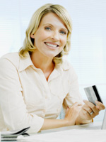 Photo of woman with credit card